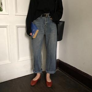 乌77 韩国 痞帅的宽松高腰显瘦磨白水洗做旧牛仔裤阔腿长裤女秋