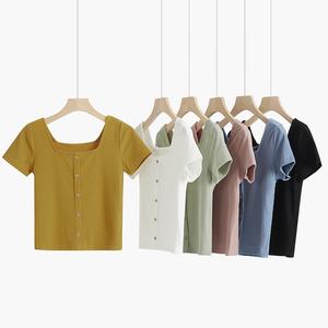 針織短款t恤女短袖夏2020年新款純紫色高腰修身法式方領上衣