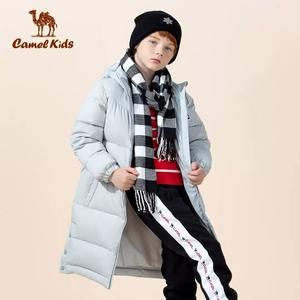 骆驼童装羽绒服女童冬季新款男童鸭绒中大童连帽中长款儿童外套