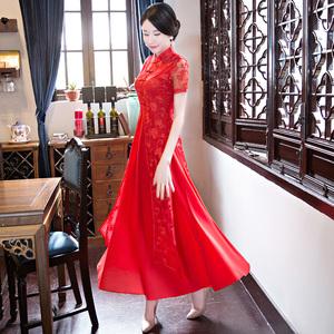 旗袍女中國風改良甜美少女小香風兩件套越南奧黛蕾絲連衣裙小香風