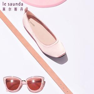清仓特卖 莱尔斯丹方头低跟平跟芭蕾舞鞋女单鞋 9M06901