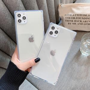 創意新款蘋果x手機殼iPhone11Pro/Max清新簡約8plus日韓國Xs Max/Xr透明方形保護套6s/7Plus全包邊個性潮男女