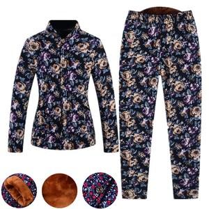 中老年睡衣女加厚冬季加绒驼绒妈妈棉衣棉裤老人套装婆婆妇女高腰