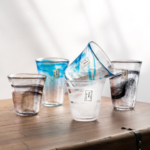 日本月夜野工房手工錘目紋玻璃杯彩色暈染冷飲杯家用日式喝水杯子