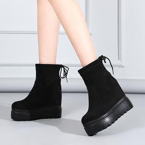 马丁靴女袜筒磨砂短靴2018秋冬新款厚底高跟内增高百搭踝靴鞋女34