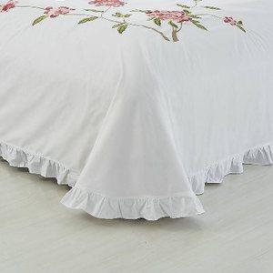 福绣白色刺单件全棉床圆荷叶边纯1.8/被单棉床单2.0m立得角绣花图片