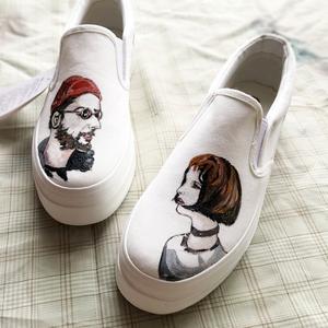 手绘帆布鞋女低帮女鞋学生鞋文艺小清新定制图案手绘鞋定制包邮