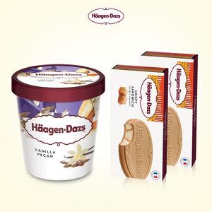 哈根达斯 经典盒装1个品脱冰淇淋+2个脆皮三明治电子券