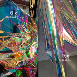 台湾进口薄彩虹膜 透明tpu镜面幻彩镭射七彩荧光服装防水设计布料