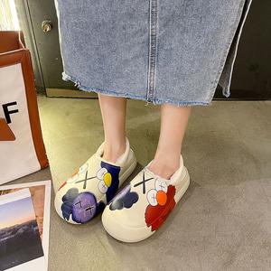 芝麻街厚底包跟棉拖鞋女冬季可愛外穿居家室內防水拖鞋女保暖棉鞋