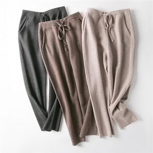 秋冬款外穿哈伦针织羊毛裤子女羊绒加厚阔腿萝卜小脚奶奶长裤宽松