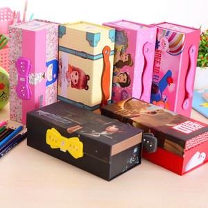 简约带密码锁硬纸制 韩国可爱女生铅笔盒 学生大容量?#26408;?#25910;纳盒