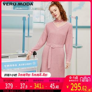 Vero Moda2019秋冬新款复古蕾丝高领拼接针织连衣裙|319446515