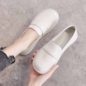 牛筋底单鞋女浅口舒适平底鞋白色一脚蹬孕妇鞋真皮软底护士小白鞋