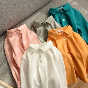 簡約純棉POLO衫 兒童純棉長袖T恤 男童女童裝 秋裝 山東網店