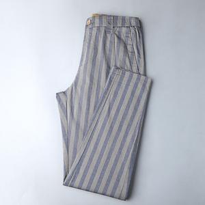 高彈力條紋面料 外貿工廠剪標尾貨 夏季薄款韓版小腳休閑男士長褲