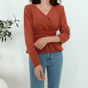韓國代購 Michyeora官網女裝19秋裝新款成熟魅力收腰褶皺V領襯衫