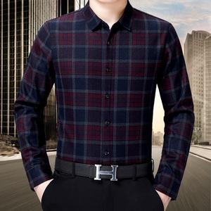 中年保暖襯衫男長袖加絨加厚高檔品牌狼利朗正品免燙商務休閑襯衣