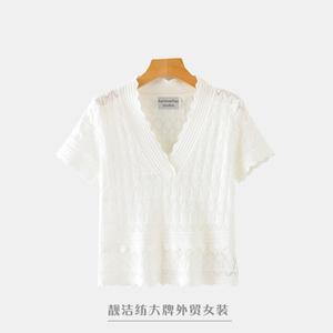 法國單外貿女裝剪標尾貨出口甩貨蕾絲鏤空V領氣質修身短袖T恤上衣