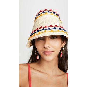 美国代购2019夏季彩色毛线点缀空顶编织草帽女士防晒帽子