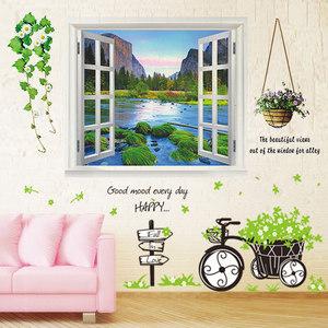 99 28人付款  淘宝 3d立体假窗户风景画墙贴卧室客厅创意壁纸装饰品