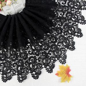 diy服裝黑色牛奶絲花邊衣服裙邊刺繡輔料拼接優質蕾絲邊超寬32cm