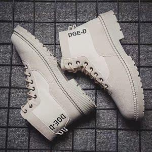 沙色米白色馬丁靴男雪地靴男鞋高幫英倫風休閑棉皮鞋工裝冬鞋子短