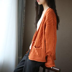 2020春秋女裝文藝慵懶風寬松顯瘦口袋麻花純棉針織毛衣開衫外套