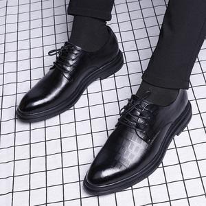 商务男鞋正装休闲鞋英伦潮流鞋子真皮内增高韩版皮鞋男士冬季加绒