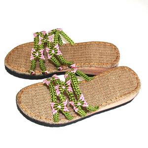 娟子特价批手工编织中国结线花卉坡跟亚麻底脚腕春夏凉鞋定制成品