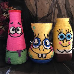 海綿寶寶創意手工diy材料包成品兒童制作彩色麻繩花瓶親子作業