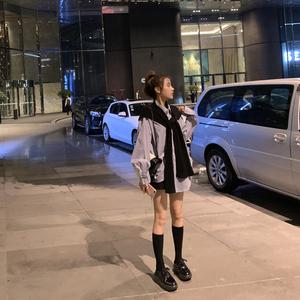 2019秋冬季新款 百搭?#27426;?#31216;条纹韩版披肩+长袖衬衫女上衣两件套装
