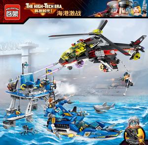兼容樂高海上平台積木啓蒙海港激戰拼裝炮艇玩具港口激戰海空積木