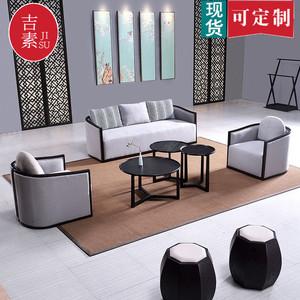 新中式沙发组合禅意?#30340;?#30333;蜡木家具客厅小户型酒店民宿办公室家用