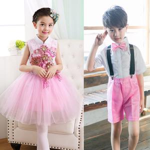 六一儿童节幼儿园小班男女孩舞蹈表演服装可爱男童演出服套装粉色