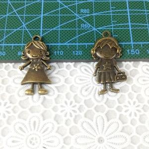 手工布藝DIY 古董小物 古銅色拉鏈頭拉片掛片 小女孩