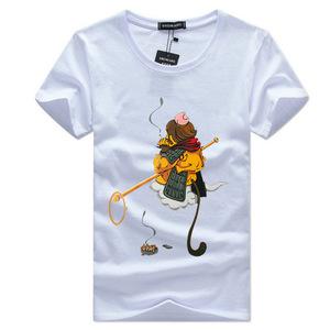 男士短袖t恤齐天大圣t恤潮流上衣服韩版修身半袖男带猴子人物图案