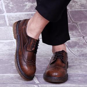 英倫雕花大頭皮鞋男神複古工裝真皮圓頭低幫馬丁靴時尚男鞋內增高