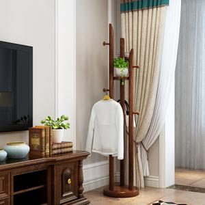 新中式實木衣帽架客廳衣架落地臥室原木多功能木制轉角掛衣服架子