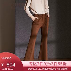 商场同款诗篇冬季新款微喇叭裤女高腰休闲裤修身阔腿裤6C38520070