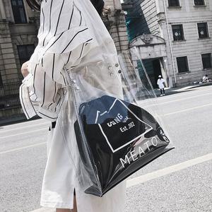 ins超火包时尚大包透明包包女2019新款沙滩果冻包时尚购物单肩包