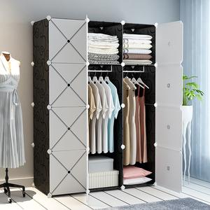 衣柜简易组装布艺现代简约出租房卧室家用布衣橱挂仿实木收纳柜子