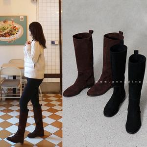 秋冬不過膝長靴女平底長筒靴磨砂翻毛皮高筒靴平跟中筒靴套筒女靴