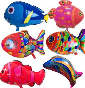 新款铝膜气球气球批新小鱼气球批氦气罐原料机器批包?#39280;?#24425;鱼小星