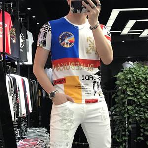 歐洲站2020夏季新款個性潮牌印花圓領半袖體恤男修身潮流燙鉆T恤
