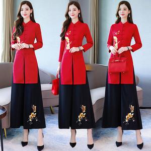 2019秋季新款中國風改良越南服裝女奧黛旗袍連衣裙闊腿褲兩件套裝