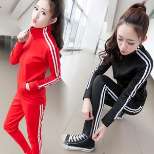 欧洲站2019春夏时尚运动套装学生运动服休闲女士修身两件套卫衣秋