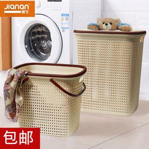 健安仿藤编洗衣收纳筐塑料镂空脏衣篮衣物收纳篮带提手手提带盖