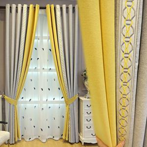 窗簾北歐簡約現代風格客廳臥室遮光網紅拼接高檔棉麻美式輕奢窗簾