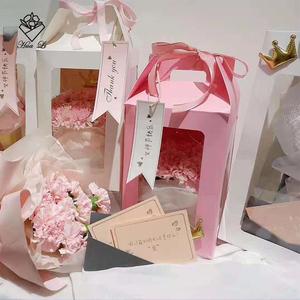 豪华手提观景礼品韩式透明diy手提式鲜花包装盒 花店包装材料资材